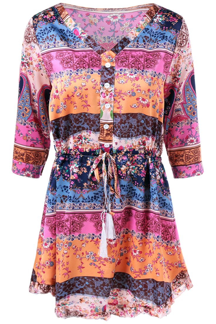 $14.09 V Neck Colorful Printed Dress