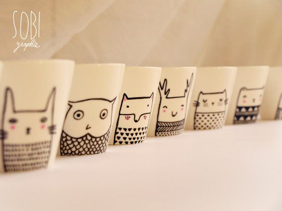 Hamster and Owl mugs by Sobigraphie  // claradeparis.com find these so adorable!