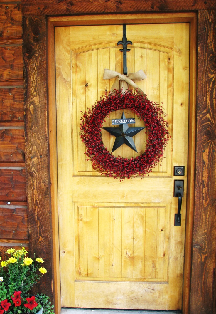 Rustic FREEDOM STAR Wreath-Red Patriotic Grapevine Wreath-LARGE Red Berry Wreath-Burlap Door Wreath-Scented Apple Cinnamon-Choose Scent. $75.00, via Etsy.: Doors Wreaths Scented, Red Berries, Rustic Freedom, Wreaths Burlap Doors, Rustic Doors, Freedom Stars, Stars Wreaths R, Wreaths Large Red, Berries Wreaths Burlap