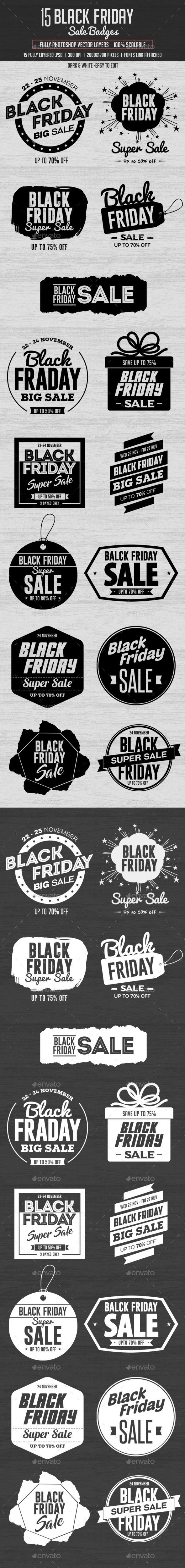 15 Black Friday Sale Badges  — PSD Template #advertising #season • Download ➝ https://graphicriver.net/item/15-black-friday-sale-badges/18376401?ref=pxcr