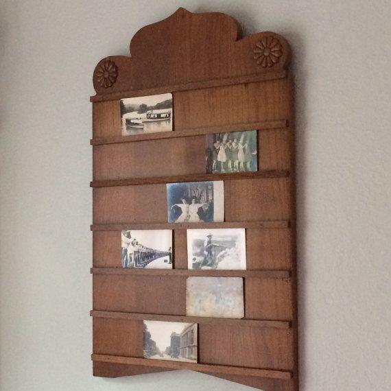 Postcard Display Rack Church Attendance Board Vintage by veraviola