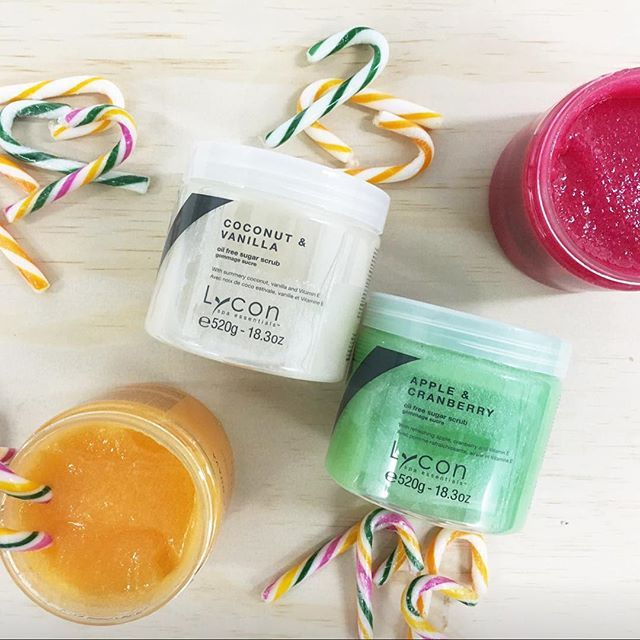 On the 4th Day of Christmas my true love (LYCON) gave to me... Four OIL FREE SUGAR SCRUBS in Apple & Cranberry, Coconut & Vanilla, Mango & Guava and Pomegranate! Good enough to eat! #lycon12daysofchristmas #beauty #wax #hairremoval #beautycare #skincare #skin #waxingqueen #therapist #beautician #esthetician #lycon #lyconcosmetics #lyconcosmeticsaus #spa