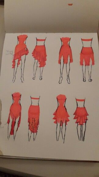 Different skirt designs. We decided on the top left for this dress.