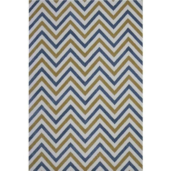 Chevron Blue Yellow Rug - 8' X 10'7'' (28.350 RUB) ❤ liked on Polyvore featuring home, rugs, yellow chevron rugs, blue area rugs, chevron area rug, blue zig zag rug and blue yellow rug