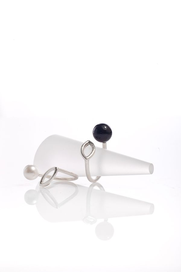 simple, modern, minimalist design,silver 925 ring, Swarovski black pearl, hand made Designed by daria siwiak design