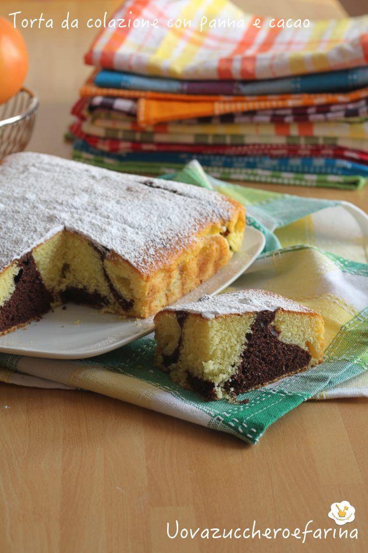 torta da colazione con panna e cacao