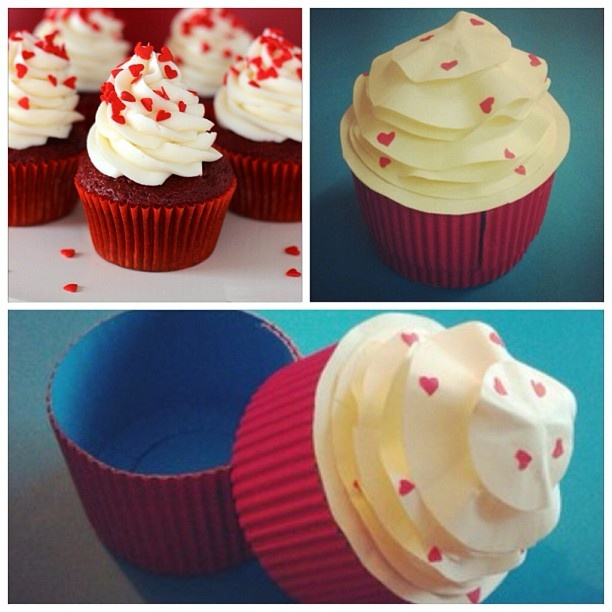 Fresh from the oven: Paper Red Velvet Cupcake  Handmade by Peggy Pink http://peggypink.blogspot.co.uk/