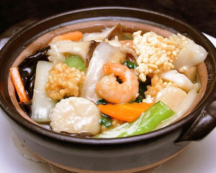 Seafood&scorched rice with Chinese sticky sauce