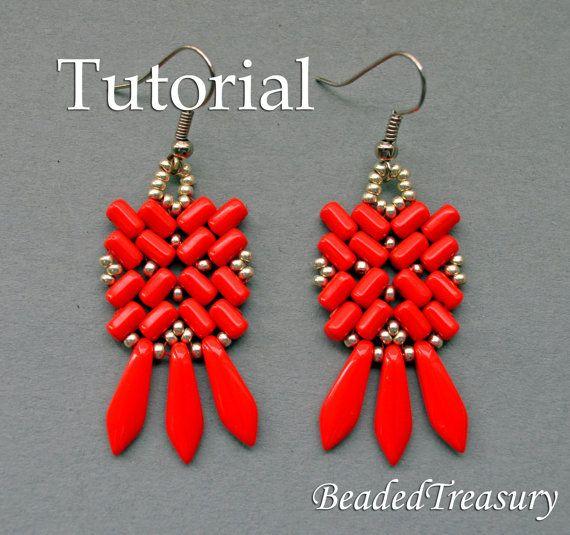 Geometry - beadwoven earrings tutorial with Czech two-hole Rulla beads.