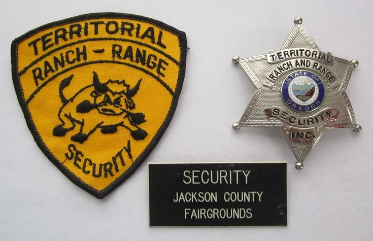 Obsolete OREGON TERRITORIAL RANCH-RANGE SECURITY BADGE PATCH Jackson Co Enamel