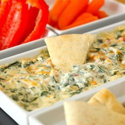 Four Cheese Spinach Dip:  8 oz cream cheese (room temp), 1 tsp garlic powder,1/3 C grated Parmesan cheese, 2 T grated Romano cheese, 2 T finely chopped red bell pepper, 2 green onion (scallion) finely chopped,  1 C wilted fresh baby spinach, squeezed dry and chopped (or frozen and thawed), 1/2 C grated Cheddar cheese, pinch of cayenne and paprika