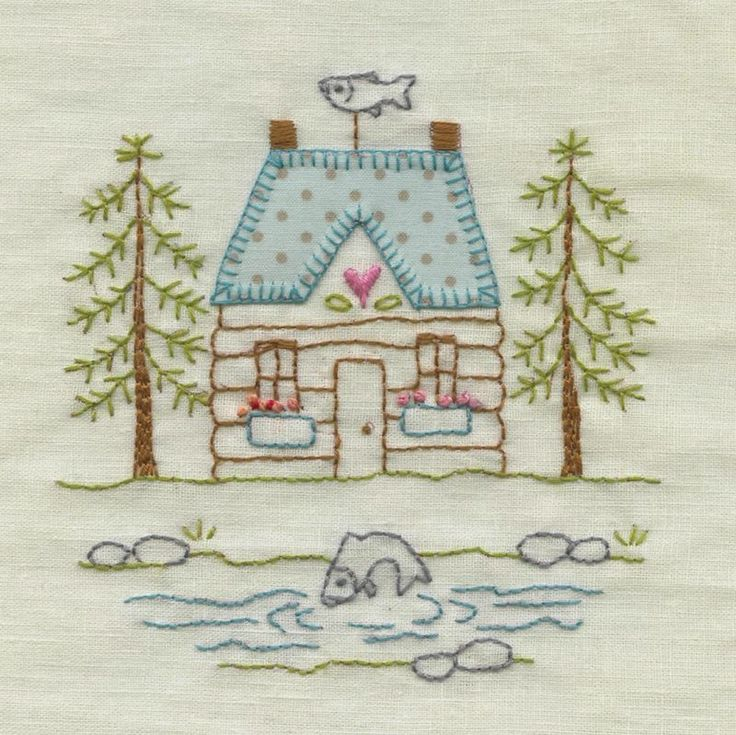 Lovely embroidered house - Red Brolly Designs                                                                                                                                                                                 More