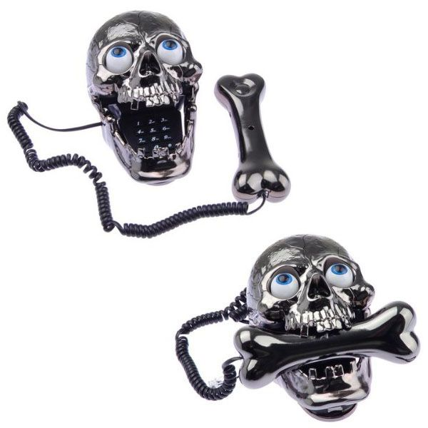 Skull Skeleton Corded Telephone...might have to pop those eyes out though..