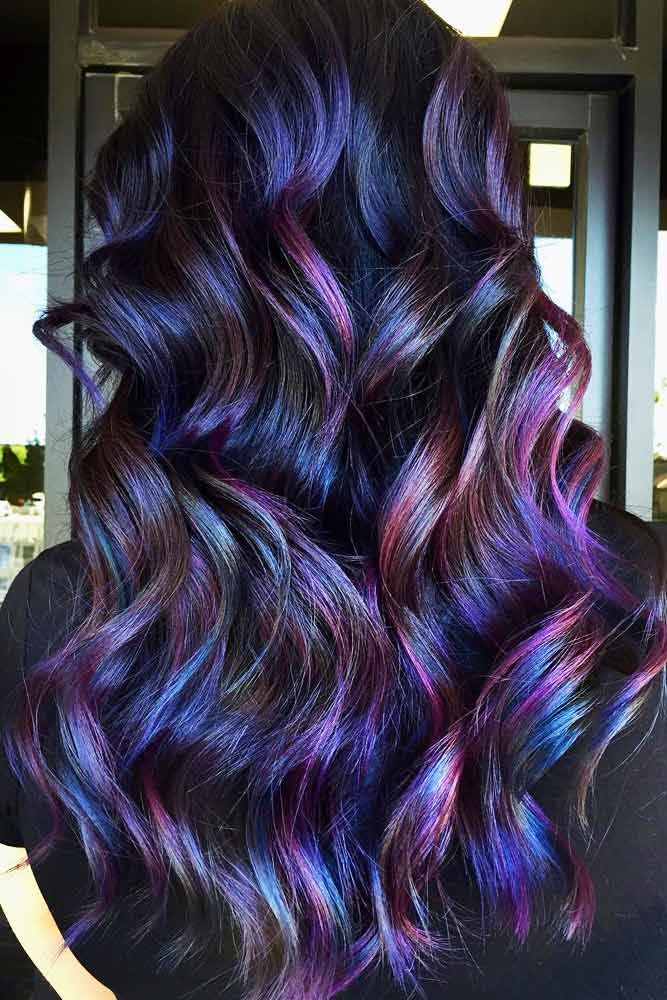 35 Unique Purple And Black Hair Combinations Lovehairstyles Com In 2020 Hair Color For Black Hair Hair Color Unique Black Hair With Highlights