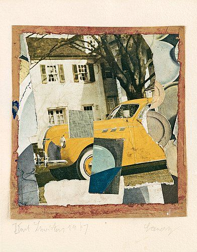 """Kurt Schwitters Germany 1887-1948 """"Scenery"""". (d)  Signed Kurt Schwitters and dated 1947. Collage, paper mounted on paper, image size 18 x 16.5 cm, sheet size 32.2 x 26.3 cm."""
