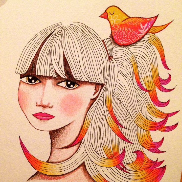 100 days of faces, coloured pencil drawing by Debi Hudson