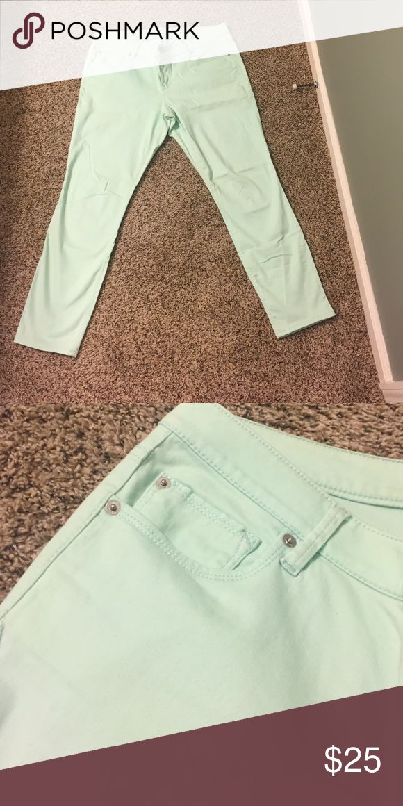 Mint jeans Express mint green jeans, ankle length. Fabric has stretch. Express Pants Ankle & Cropped