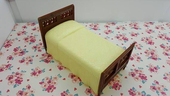 Renwal Bedroom Bed Doll House Toy Hard Plastic Off White Spread  #renwal #miniature #RenwalIdeal #wlv #MinimalScratch #DollHouse #EcochicTeam #DollhouseToy #TinLitho #SuperiorMarx #dollhouse#miniatures#dolls#vintagetoys#retro#midcentury#marx#renwal#minimalscratch#etsyseller