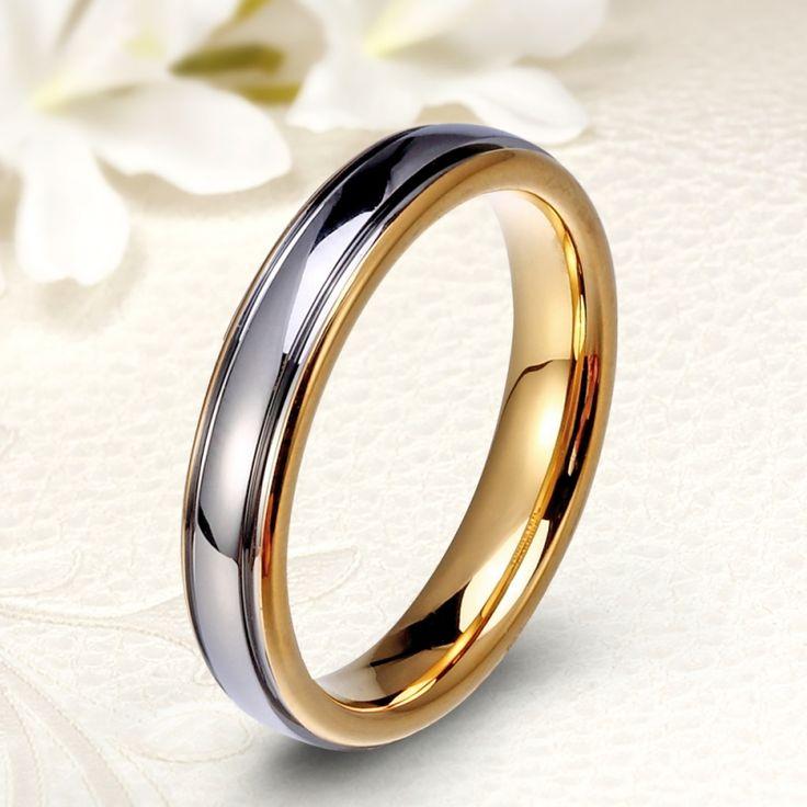 18K arannyal bevont klasszikus fazonú keskeny tungsten karikagyűrű
