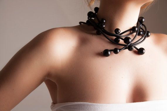 black Statement necklace modern minimal by vquadroitaly on Etsy