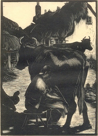"Claire Leighton (1901-1988), ""Milking"", Wood Engraving, 1926."