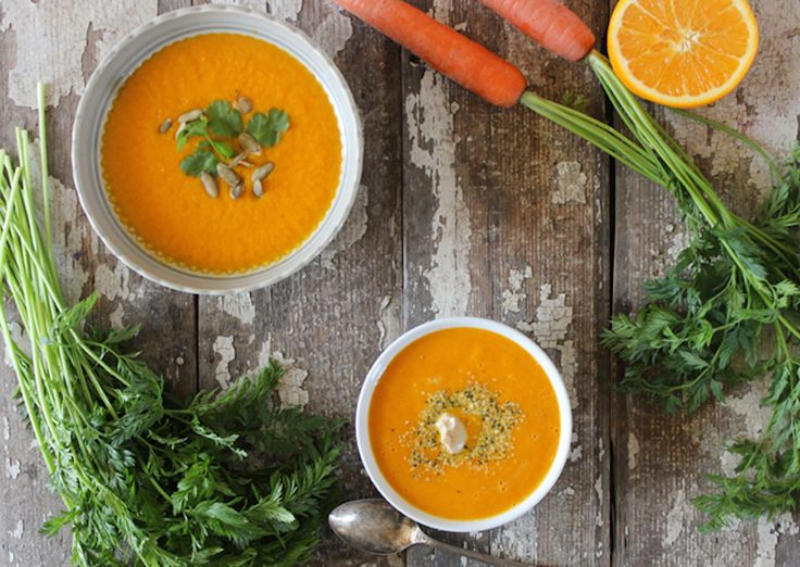 Carrot Orange & Ginger Soup is loaded with heaps of vitamin A especially from the carrots, vitamin C from the oranges, and warming ginger which provides digestive aid amongst other health benefits. Not only is this soup nutrient dense, but it's also low in calories!