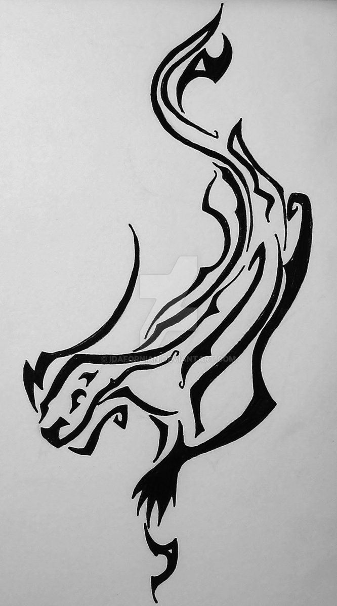Black Tribal Otter Tattoo Stencil By Idafornian Otter Outline