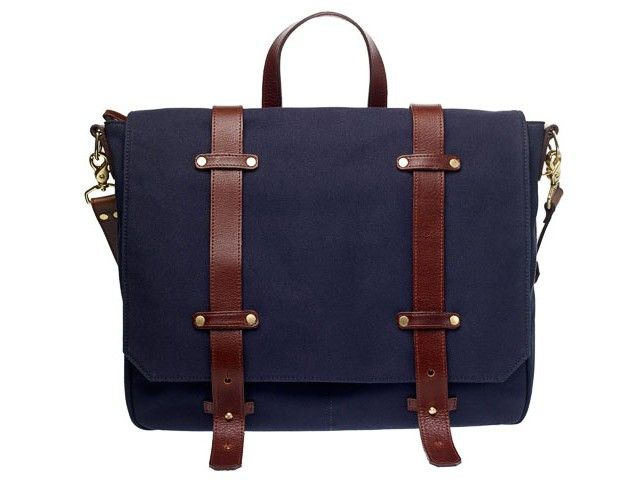 Irving Navy Cotton Canvas Satchel