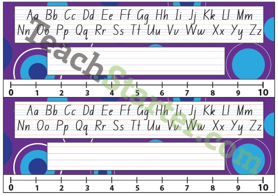 Lower Grade Desk Plate - Abstract Spots - Purple | Teach Starter - Teaching Resources