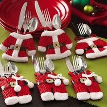 2 Pçs/set Venda Quente Decorações de Natal Do Boneco de neve Sacos de Talheres Vermelho Cobre Titular Dinner Party Decor Happy Santa de Presente #74083 alishoppbrasil