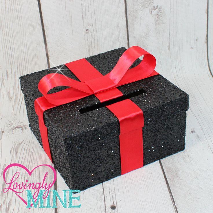 Mini Card Box -  Size 8 x 8 x 4 - Red Ribbon & Glitter Black -  Baby Shower, Bridal Shower, Birthday - Advise Box, Game Box, Raffle Box by LovinglyMine on Etsy