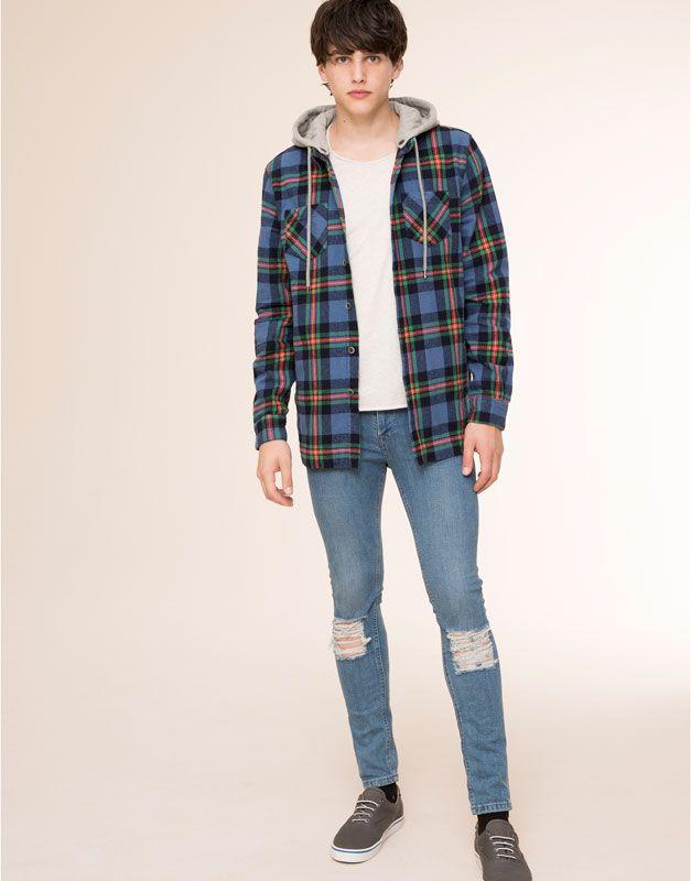 Pull&Bear - homme - chemises - surchemise à carreaux capuche - bleu - 09471527-I2015