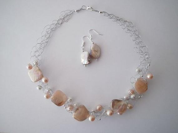 "Mother of Pearl Necklace & Earring set. ""shop"" JoTheGreek on www.Etsy.com"