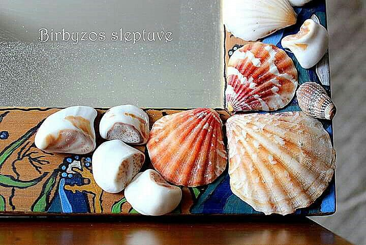 #recycled #old #mirror #decorated #with #natural #shells #and #drawings #in #marine #theme #handmade #by #birbyzossleptuve