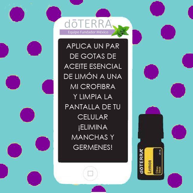 Limpia la pantalla de tu celular con #aceite esencial de #limòn #doTERRA