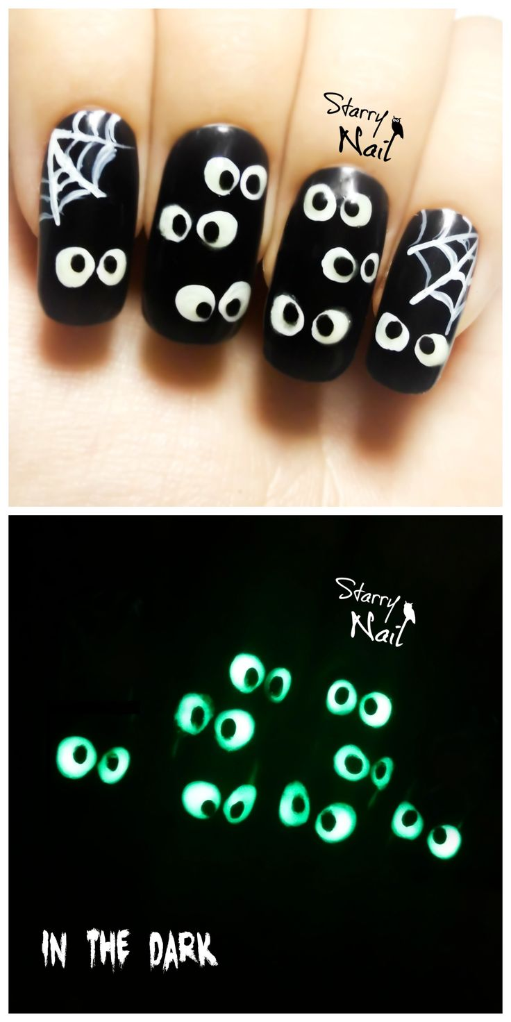 49 best scary dark halloween freehand nail art images on easy halloween spooky eyes glow in the dark freehand nail art tutorial nailart prinsesfo Images