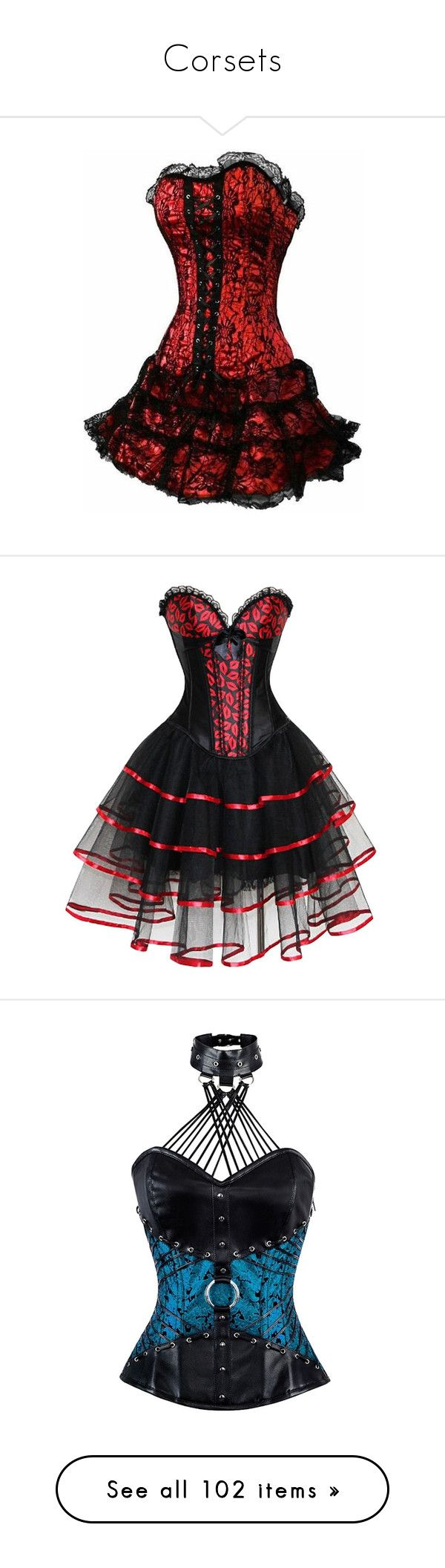 """Corsets"" by hogwartshornbills on Polyvore featuring dresses, short red cocktail dress, red dress, gothic corset dresses, short red dress, red gothic dress, corset, tops, shirts and blue"