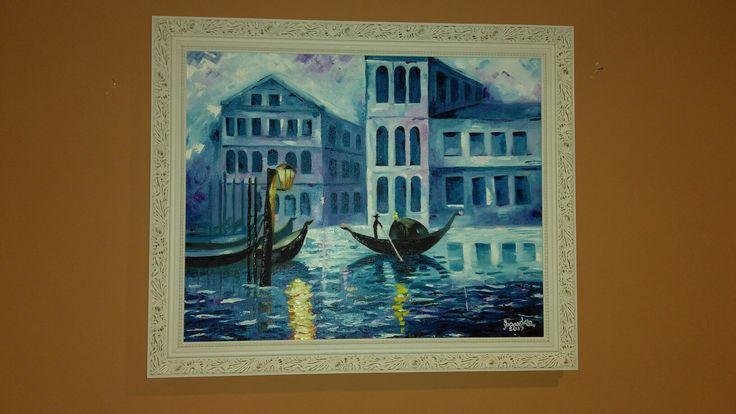 Óleo sobre tela: Veneza, inspirado em Afremov