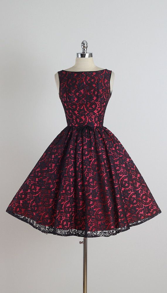 ➳ vintage 1950s dress  * black floral lace over red acetate * muslin lining * black satin bow accent * metal back zipper  condition | excellent