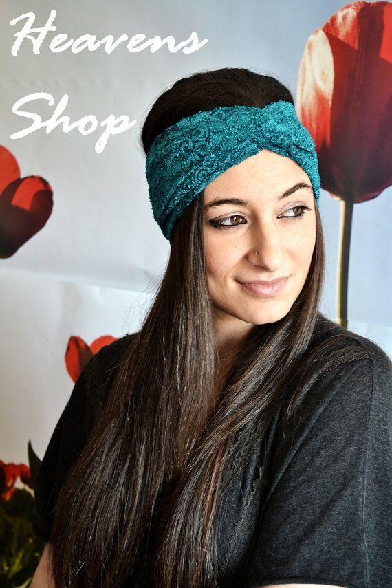 Green Lace Headband Classy Turban Vintage Style by HeavensShop, €13.50