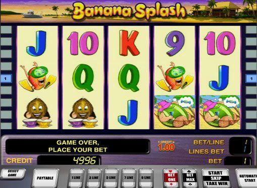 Слот автомат Banana Splash играят онлайн за пари. Тема плодове е доста често срещана сред онлайн слотове. И в машината Banana Splash от компанията Novomatic тя също е била използвана успешно. Този слот слотове разполага с 5 барабана и 9 печеливши линии. Той също така съдържа призна