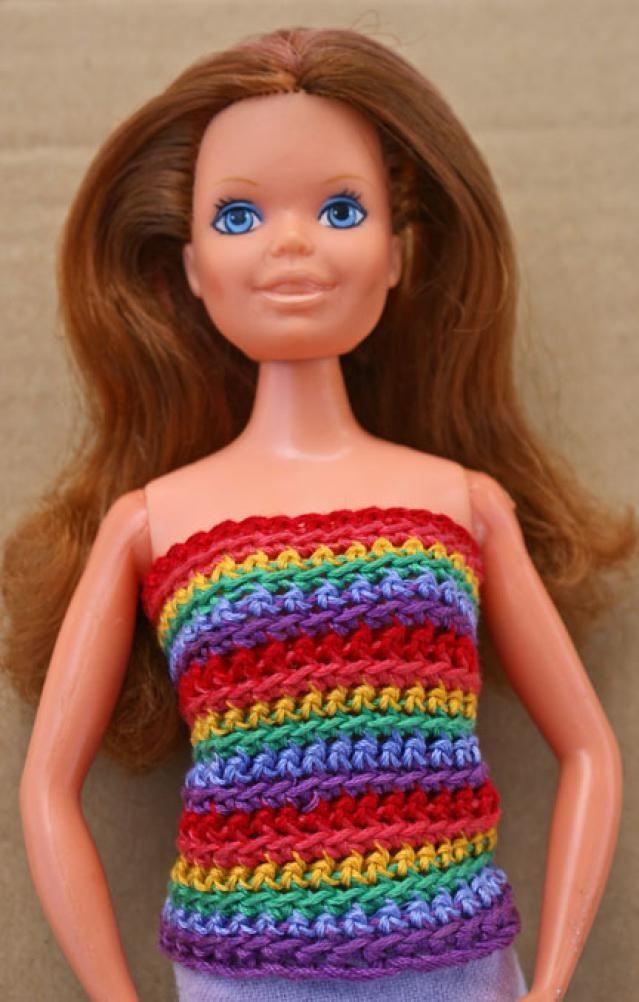 10 Fun Free Crochet Barbie Doll Patterns: Rainbow Striped Crochet Doll Shirt Free Pattern