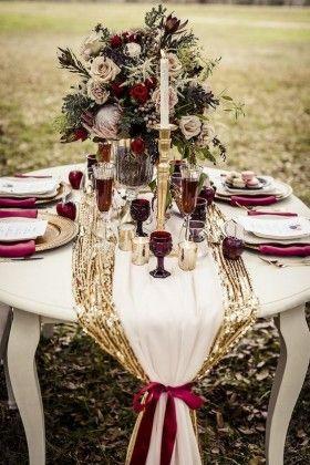 Marsala Wedding Table Decor
