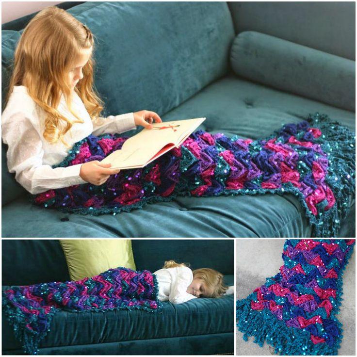 Crochet Mermaid Blanket Crochet Pattern by Susan Carlson of Felted Button