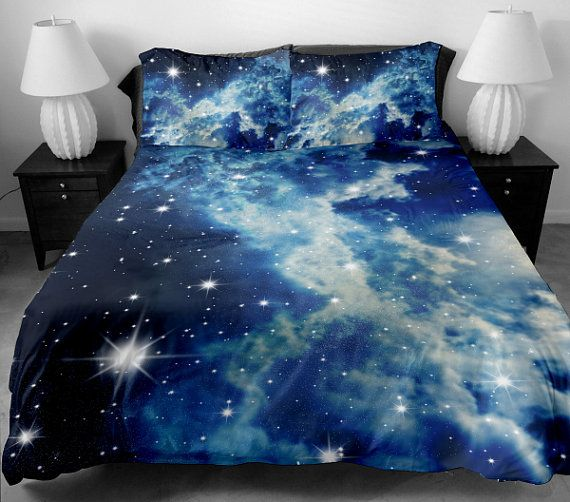 Cloud bedding sets queen duvet covers king bedding set two sides printing white galaxy duvet covers bed spread bedding on Etsy, $138.00