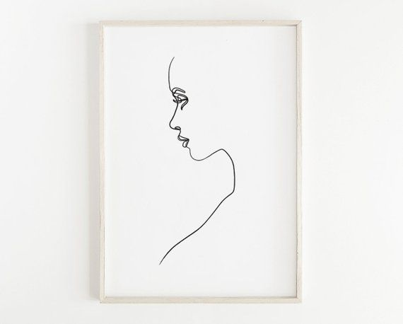Minimalist Woman Printable Woman Face Print Sketch Art Line Drawing Print Simple Fashion Minimal Art Woman Art Female Silhouette Art Drawing Prints Silhouette Art Art Sketches