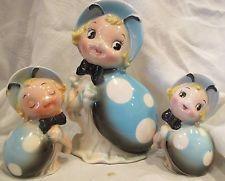 VINTAGE ANTHROPOMORPHIC BLUE GIRL/LADY BUG SALT PEPPER & NAPKIN HOLDER 3 PIECE