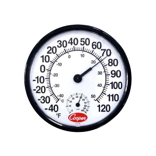 """Cooper Atkins -40° to 120°F Wall Thermometer w/ Humidity Scale by Cooper. $29.90. Cooper Atkins 12"""" -40°-120°F Wall Thermometer w/ Humidity ScaleThis wall mount thermometer features large numbers for easy reading and a small humidity scale underneath the larger temperature scale. It has a measurement range of -40 to 120°F and 0 to 100% relative humidity.Large Numbers Both Fahrenheit and Celsius Scales Built-In Humidity Scale Wall Mount Design Temperature Range: -40° to..."""