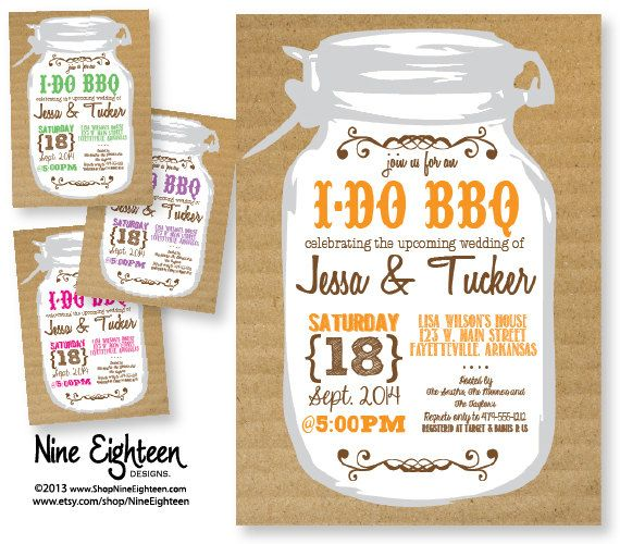 I Do BBQ Couples Shower Invitation with Mason Jar/Cardboard look Custom Printable PDF/JPG. I design, you print. Choose your colors.