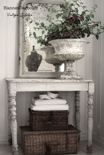 Beautiful patina, baskets for storage and mirror with age